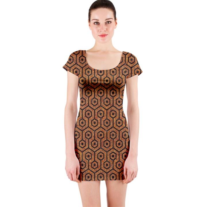 HEXAGON1 BLACK MARBLE & RUSTED METAL Short Sleeve Bodycon Dress