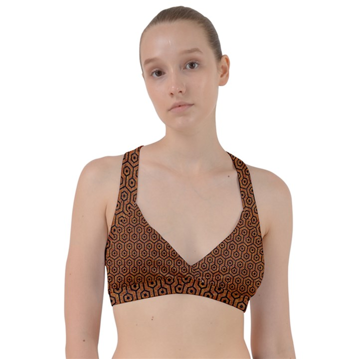 HEXAGON1 BLACK MARBLE & RUSTED METAL Sweetheart Sports Bra