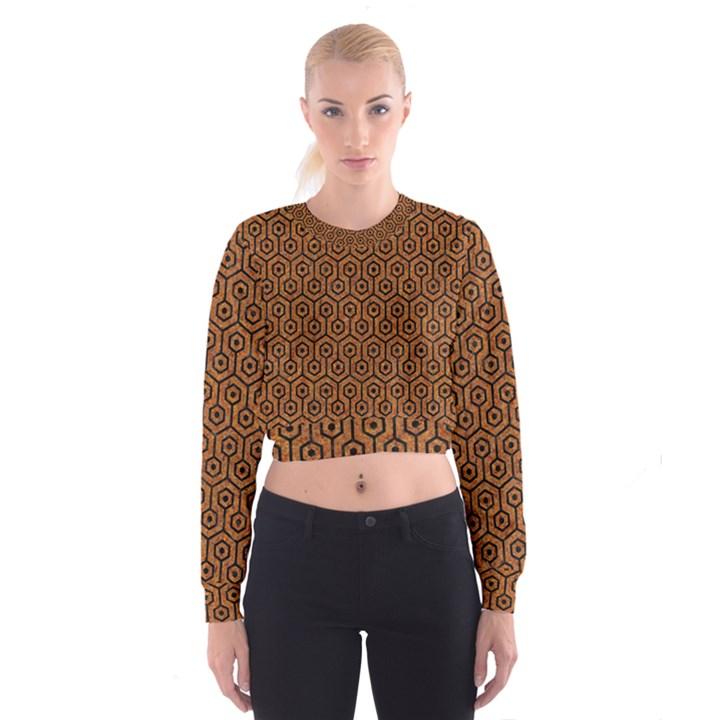HEXAGON1 BLACK MARBLE & RUSTED METAL Cropped Sweatshirt