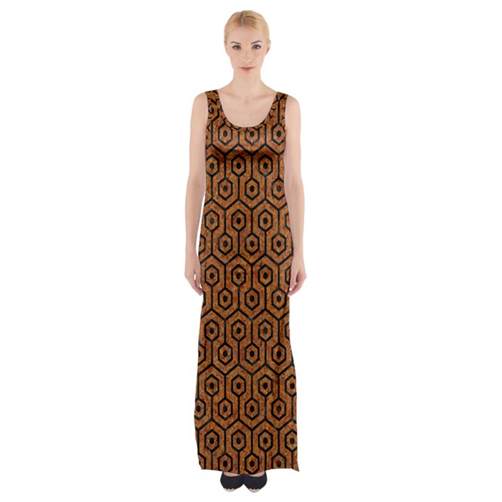 HEXAGON1 BLACK MARBLE & RUSTED METAL Maxi Thigh Split Dress