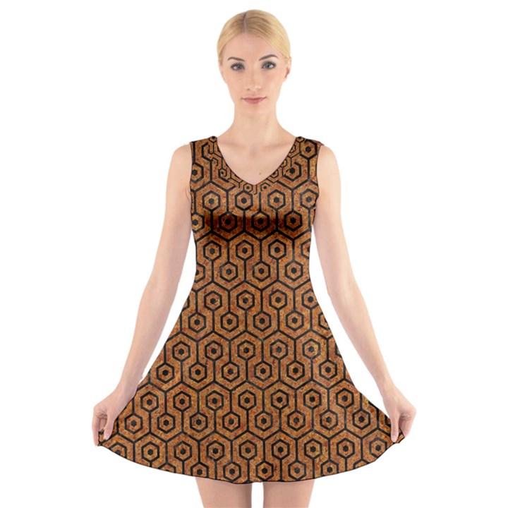 HEXAGON1 BLACK MARBLE & RUSTED METAL V-Neck Sleeveless Skater Dress