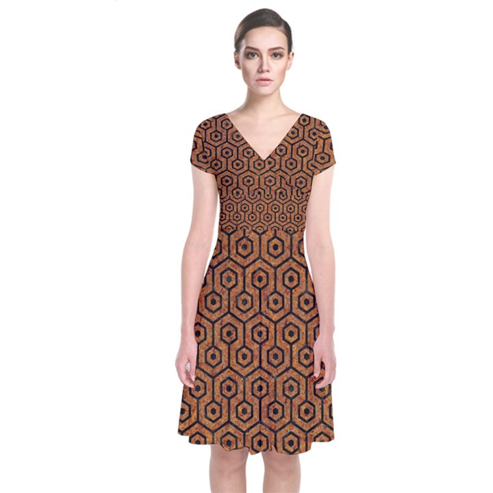 HEXAGON1 BLACK MARBLE & RUSTED METAL Short Sleeve Front Wrap Dress