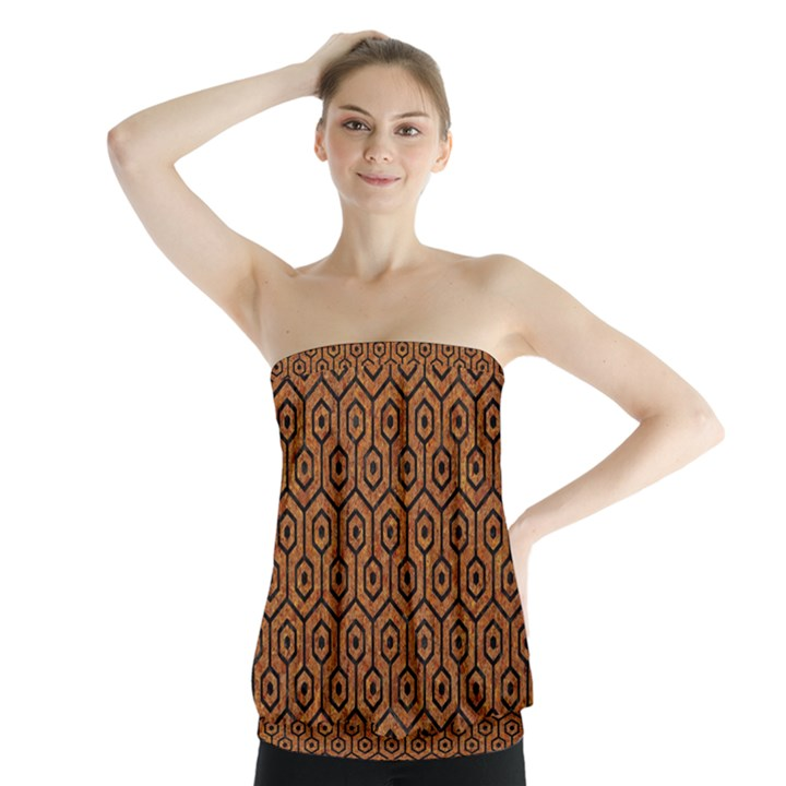 HEXAGON1 BLACK MARBLE & RUSTED METAL Strapless Top