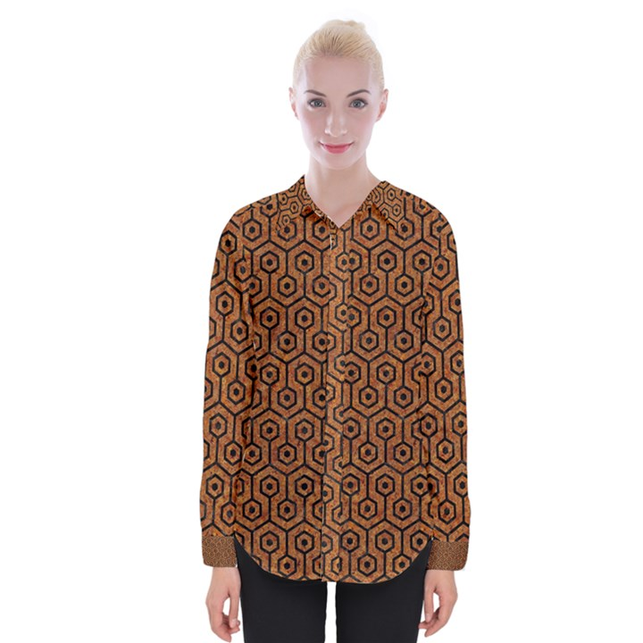 HEXAGON1 BLACK MARBLE & RUSTED METAL Womens Long Sleeve Shirt