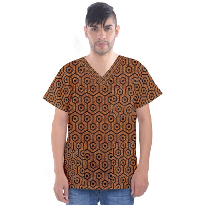HEXAGON1 BLACK MARBLE & RUSTED METAL Men s V-Neck Scrub Top