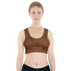 Hexagon1 Black Marble & Rusted Metal Sports Bra With Pocket