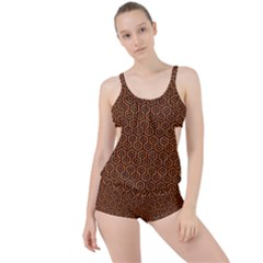 Hexagon1 Black Marble & Rusted Metal Boyleg Tankini Set