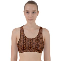 Hexagon1 Black Marble & Rusted Metal Back Weave Sports Bra