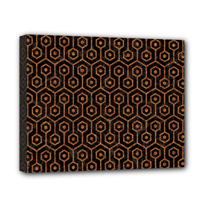 HEXAGON1 BLACK MARBLE & RUSTED METAL (R) Canvas 10  x 8