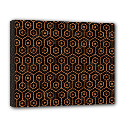 Hexagon1 Black Marble & Rusted Metal (r) Deluxe Canvas 20  X 16
