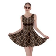 Hexagon1 Black Marble & Rusted Metal (r) Skater Dress