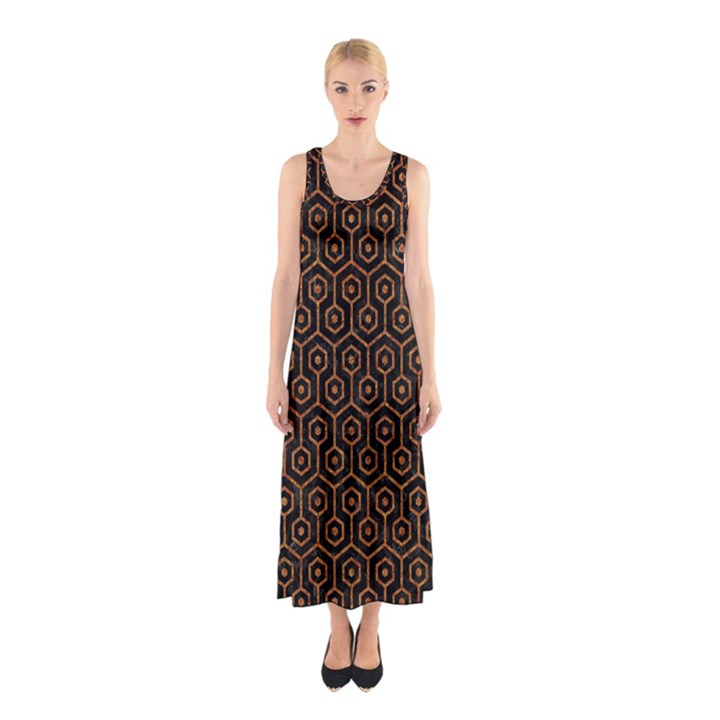 HEXAGON1 BLACK MARBLE & RUSTED METAL (R) Sleeveless Maxi Dress