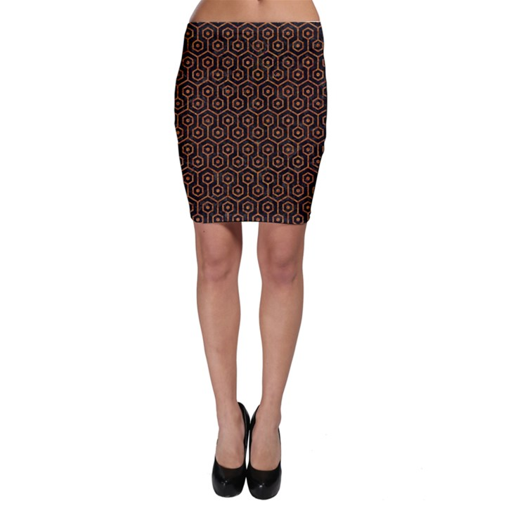 HEXAGON1 BLACK MARBLE & RUSTED METAL (R) Bodycon Skirt