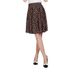 Hexagon1 Black Marble & Rusted Metal (r) A Line Skirt