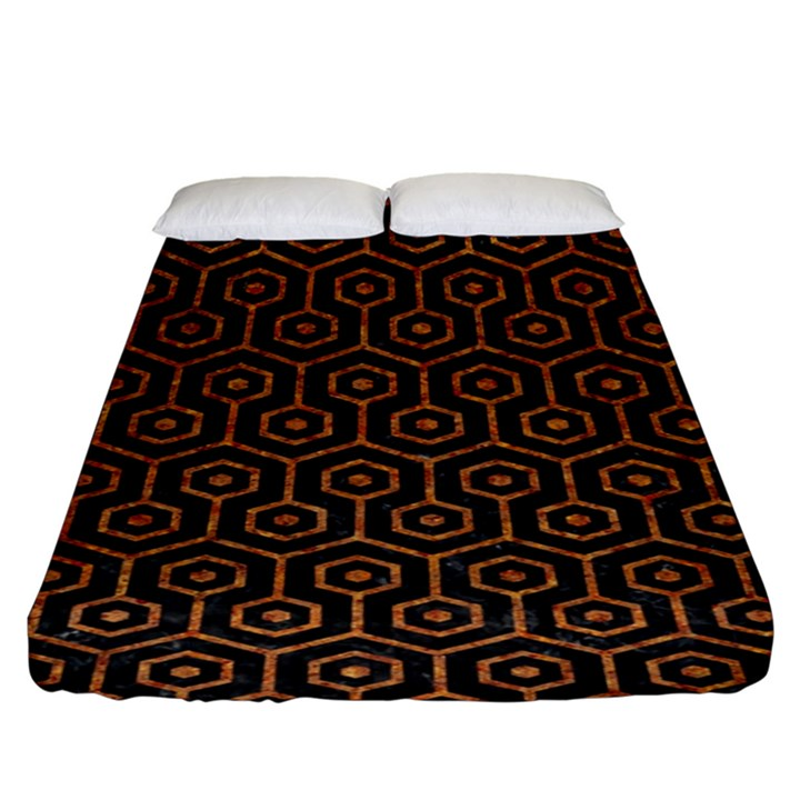 HEXAGON1 BLACK MARBLE & RUSTED METAL (R) Fitted Sheet (King Size)