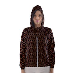 Hexagon1 Black Marble & Rusted Metal (r) Hooded Wind Breaker (women)
