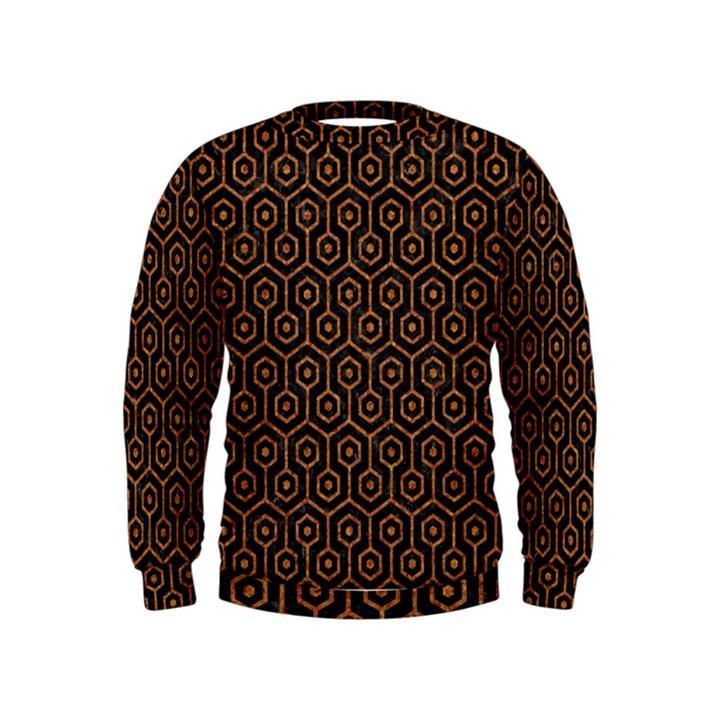 HEXAGON1 BLACK MARBLE & RUSTED METAL (R) Kids  Sweatshirt