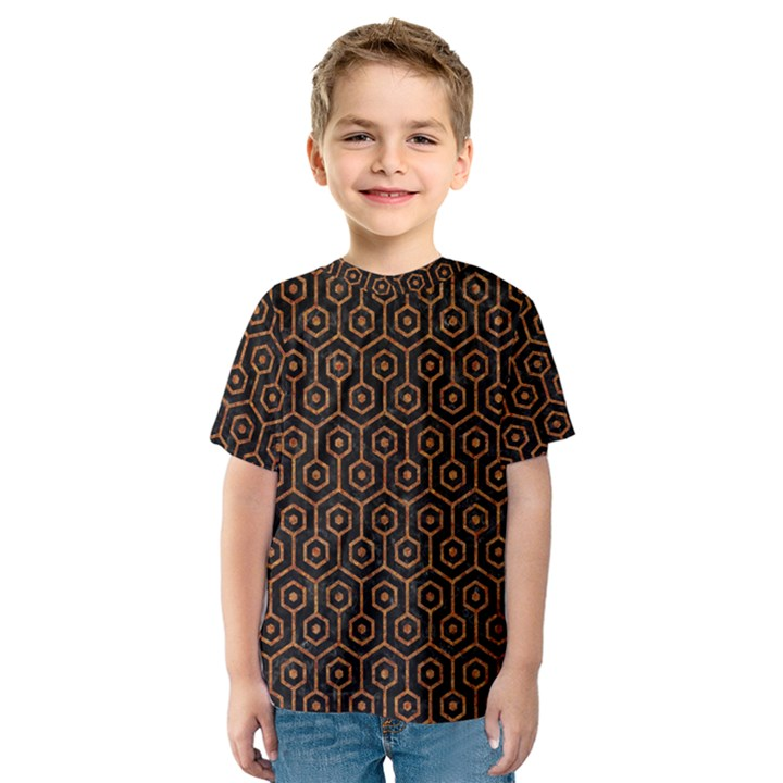 HEXAGON1 BLACK MARBLE & RUSTED METAL (R) Kids  Sport Mesh Tee
