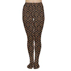 Hexagon1 Black Marble & Rusted Metal (r) Women s Tights