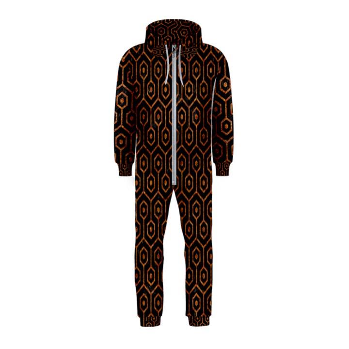 HEXAGON1 BLACK MARBLE & RUSTED METAL (R) Hooded Jumpsuit (Kids)