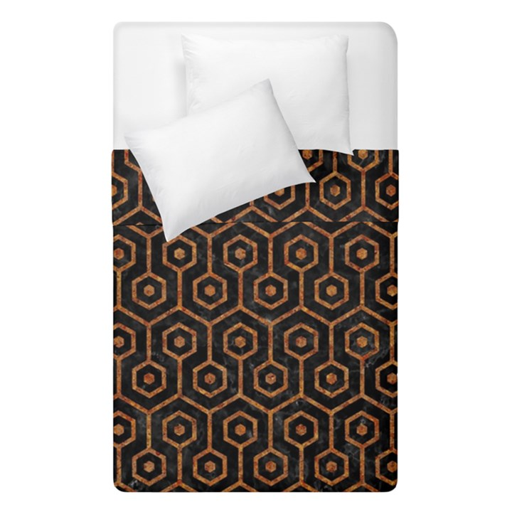 HEXAGON1 BLACK MARBLE & RUSTED METAL (R) Duvet Cover Double Side (Single Size)