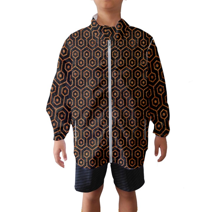 HEXAGON1 BLACK MARBLE & RUSTED METAL (R) Wind Breaker (Kids)