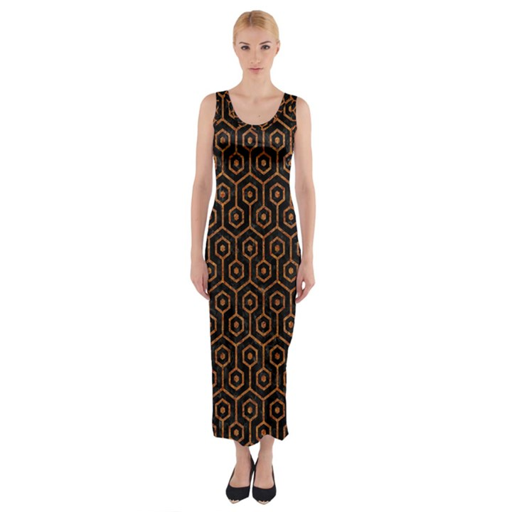 HEXAGON1 BLACK MARBLE & RUSTED METAL (R) Fitted Maxi Dress