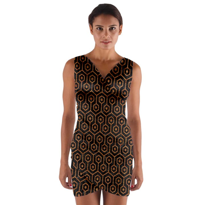 HEXAGON1 BLACK MARBLE & RUSTED METAL (R) Wrap Front Bodycon Dress