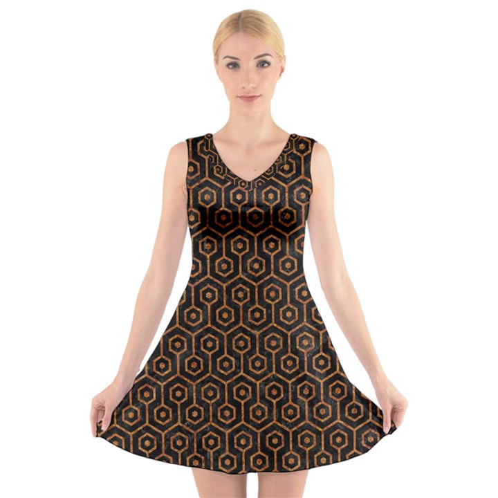 HEXAGON1 BLACK MARBLE & RUSTED METAL (R) V-Neck Sleeveless Skater Dress