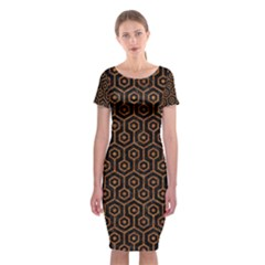 Hexagon1 Black Marble & Rusted Metal (r) Classic Short Sleeve Midi Dress