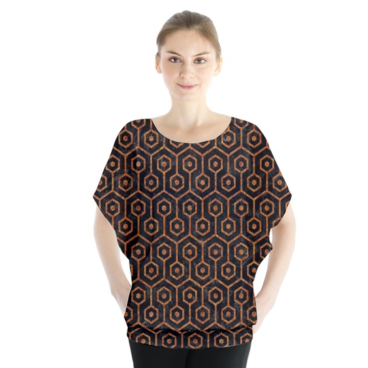 HEXAGON1 BLACK MARBLE & RUSTED METAL (R) Blouse