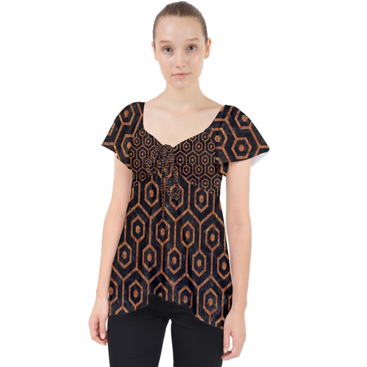 HEXAGON1 BLACK MARBLE & RUSTED METAL (R) Lace Front Dolly Top