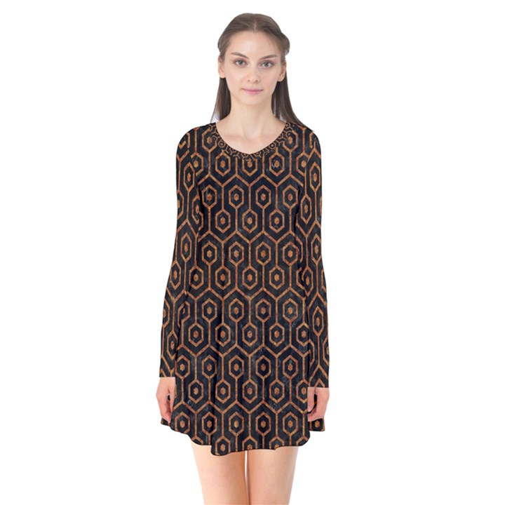 HEXAGON1 BLACK MARBLE & RUSTED METAL (R) Flare Dress