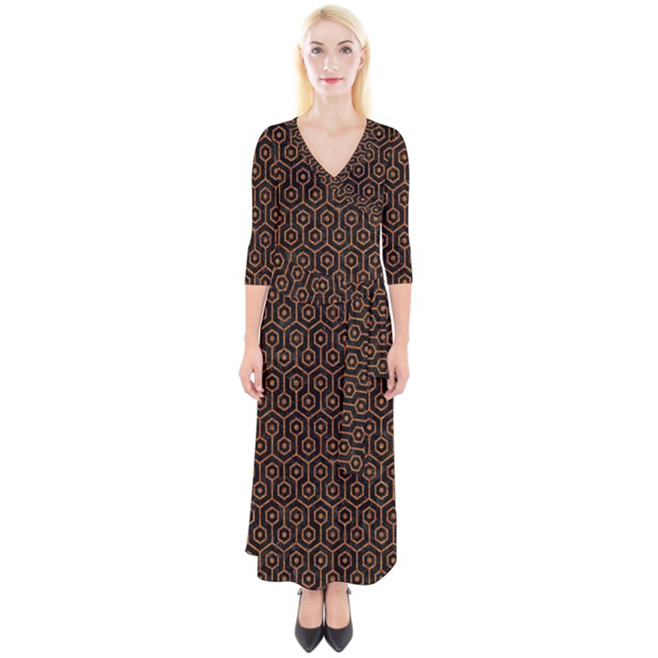 HEXAGON1 BLACK MARBLE & RUSTED METAL (R) Quarter Sleeve Wrap Maxi Dress