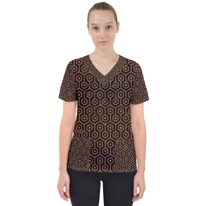 HEXAGON1 BLACK MARBLE & RUSTED METAL (R) Scrub Top