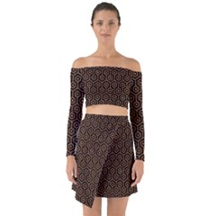 Hexagon1 Black Marble & Rusted Metal (r) Off Shoulder Top With Skirt Set
