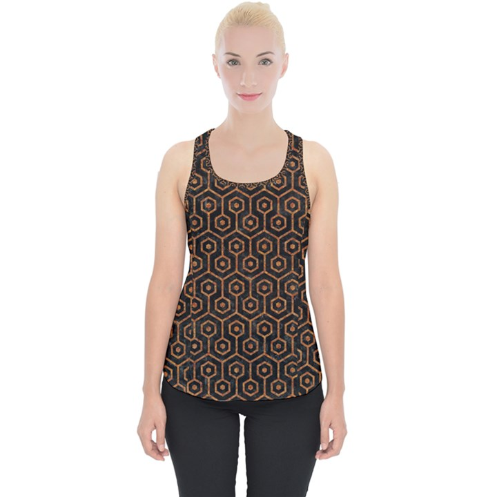 HEXAGON1 BLACK MARBLE & RUSTED METAL (R) Piece Up Tank Top