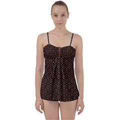 Hexagon1 Black Marble & Rusted Metal (r) Babydoll Tankini Set