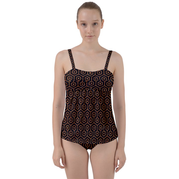 HEXAGON1 BLACK MARBLE & RUSTED METAL (R) Twist Front Tankini Set