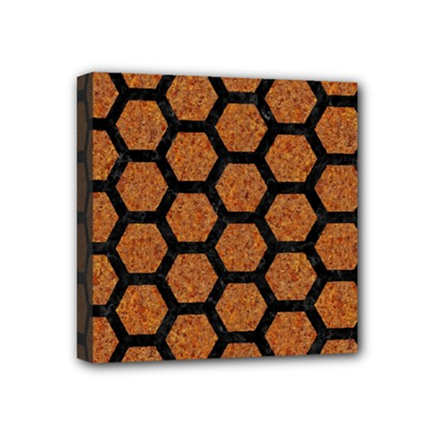 Hexagon2 Black Marble & Rusted Metal Mini Canvas 4  X 4