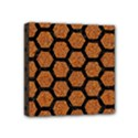 HEXAGON2 BLACK MARBLE & RUSTED METAL Mini Canvas 4  x 4  View1