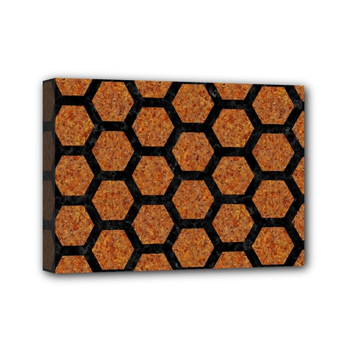 HEXAGON2 BLACK MARBLE & RUSTED METAL Mini Canvas 7  x 5