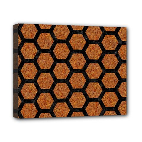 Hexagon2 Black Marble & Rusted Metal Canvas 10  X 8