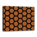 HEXAGON2 BLACK MARBLE & RUSTED METAL Canvas 16  x 12  View1