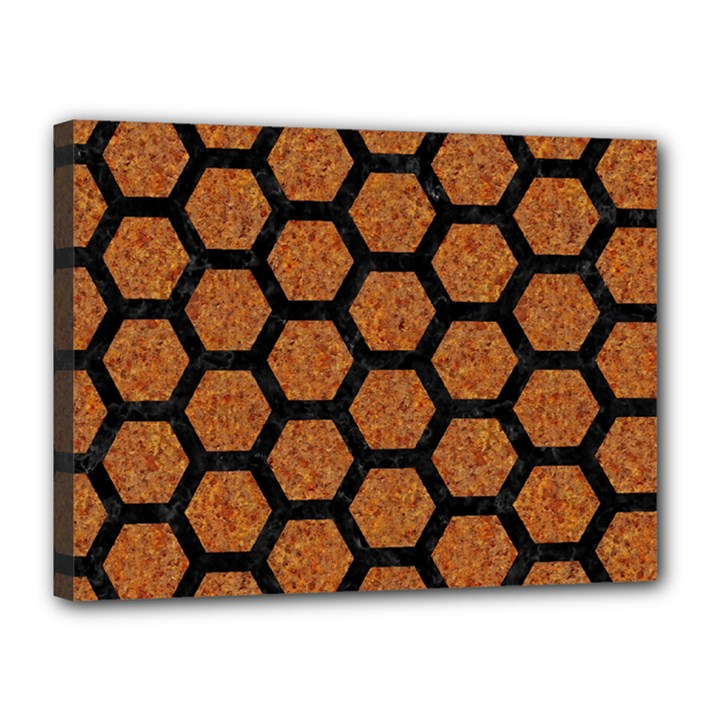 HEXAGON2 BLACK MARBLE & RUSTED METAL Canvas 16  x 12