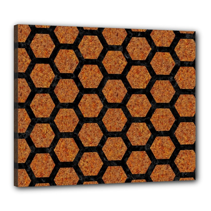 HEXAGON2 BLACK MARBLE & RUSTED METAL Canvas 24  x 20