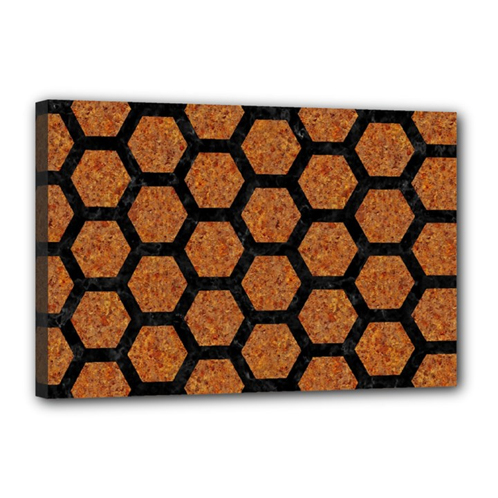 HEXAGON2 BLACK MARBLE & RUSTED METAL Canvas 18  x 12