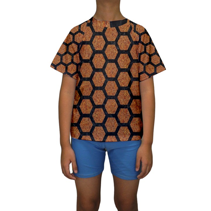 HEXAGON2 BLACK MARBLE & RUSTED METAL Kids  Short Sleeve Swimwear
