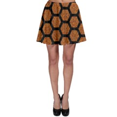 Hexagon2 Black Marble & Rusted Metal Skater Skirt