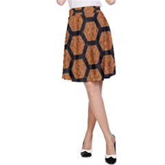 Hexagon2 Black Marble & Rusted Metal A Line Skirt